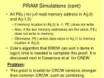 pram simulations cont