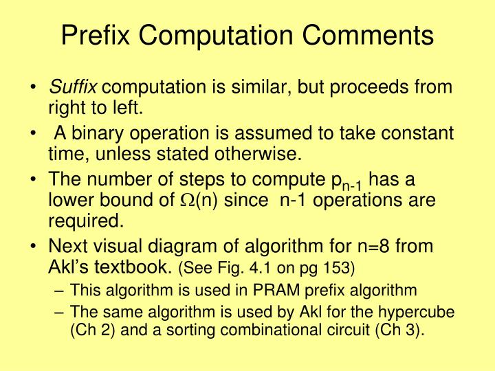 Prefix Computation Comments