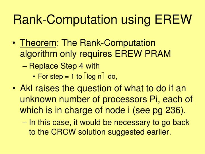 Rank-Computation using EREW