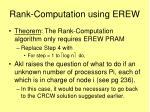 rank computation using erew