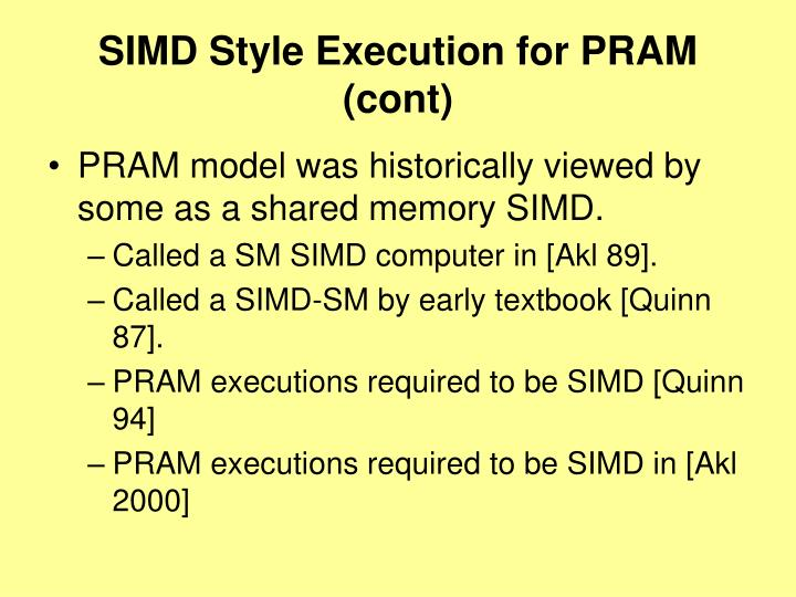 SIMD Style Execution for PRAM
