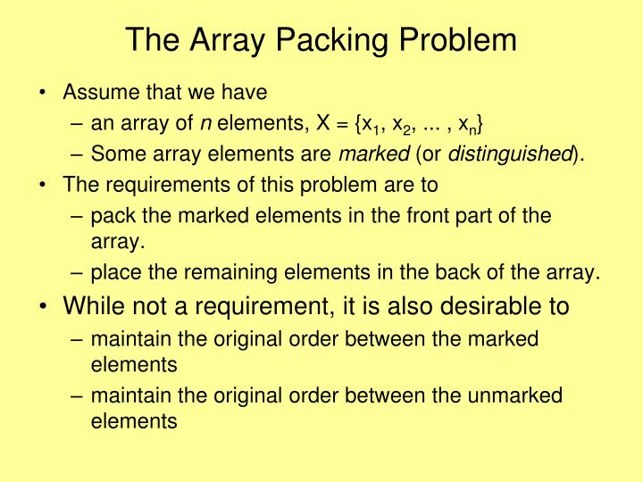 The Array Packing Problem