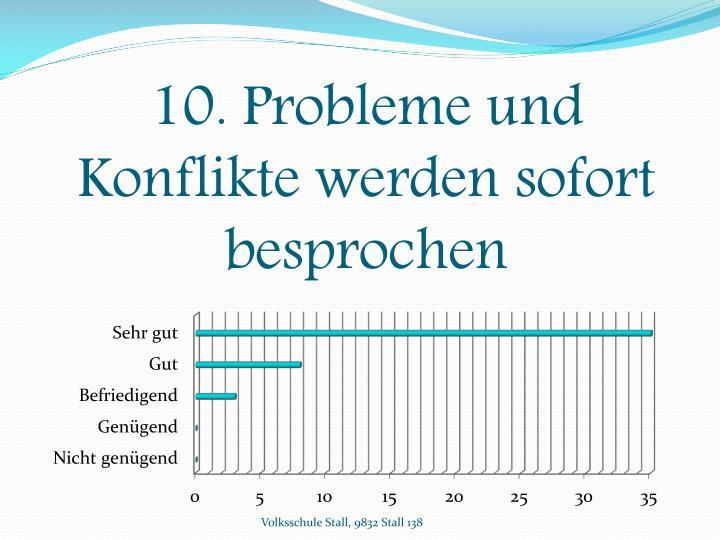 10. Probleme und Konflikte werden sofort besprochen