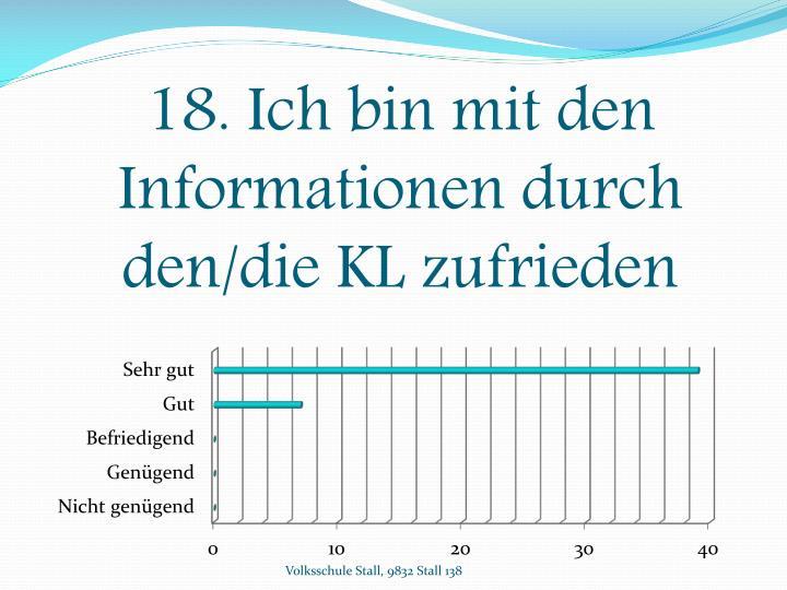 18. Ich bin mit den Informationen durch den/die KL zufrieden