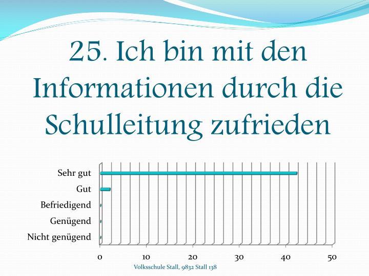 25. Ich bin mit den Informationen durch die Schulleitung zufrieden