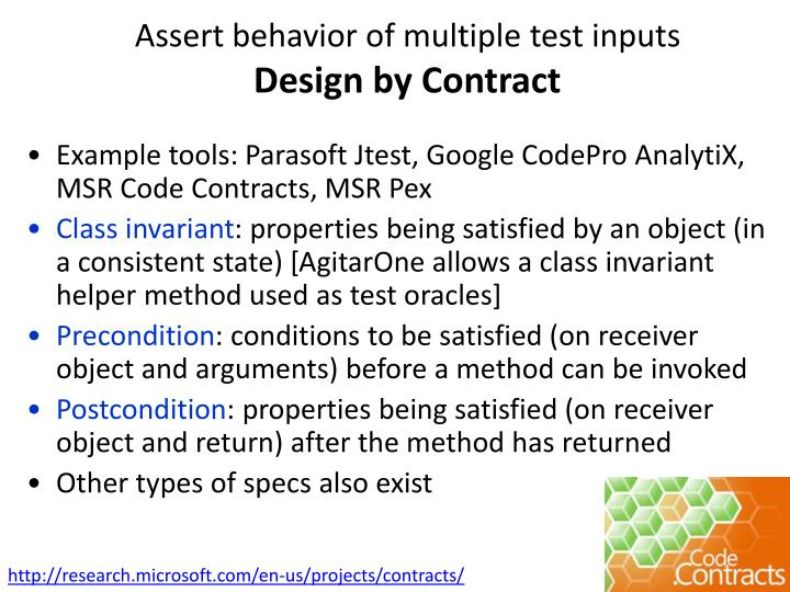 Assert behavior of multiple test inputs