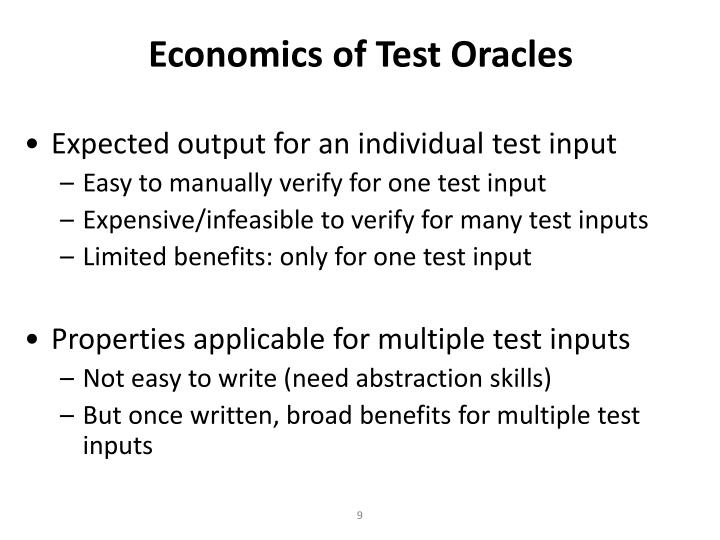 Economics of Test Oracles