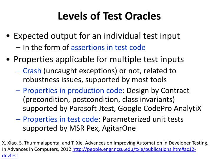 Levels of Test Oracles