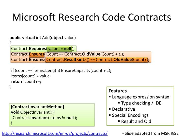 Microsoft Research Code Contracts