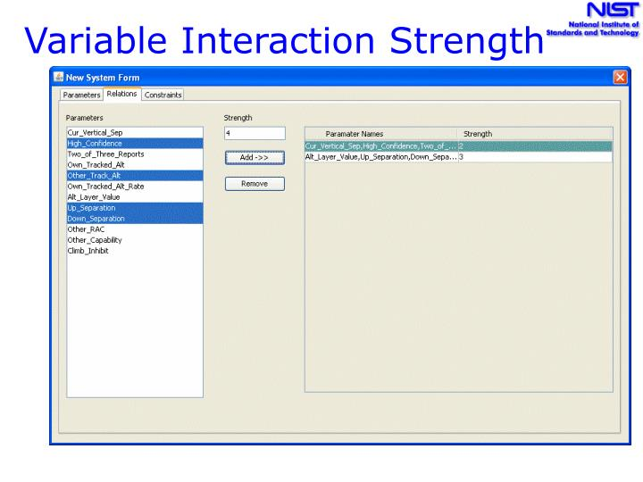Variable Interaction Strength