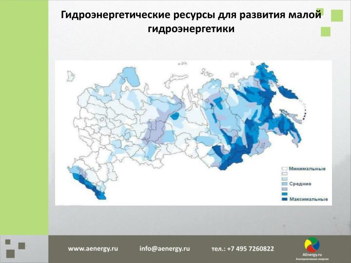 Гидроэнергетические ресурсы для развития малой гидроэнергетики