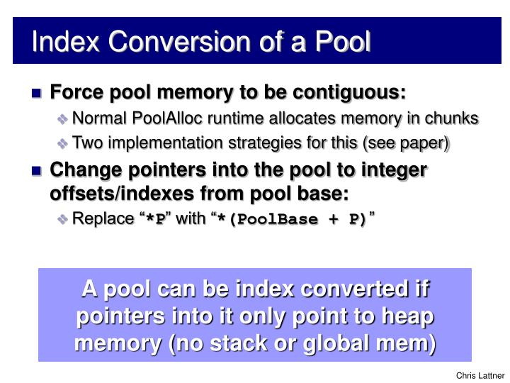 Index Conversion of a Pool