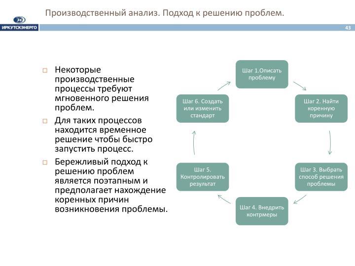 Производственный анализ. Подход к решению проблем.
