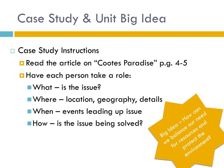 Case Study & Unit Big Idea