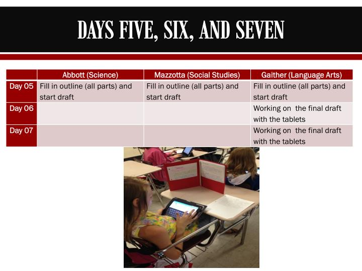 DAYS FIVE, SIX, AND SEVEN