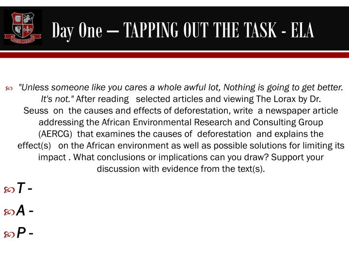 Day One – TAPPING OUT THE TASK - ELA