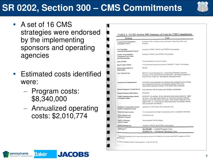 SR 0202, Section 300 – CMS Commitments