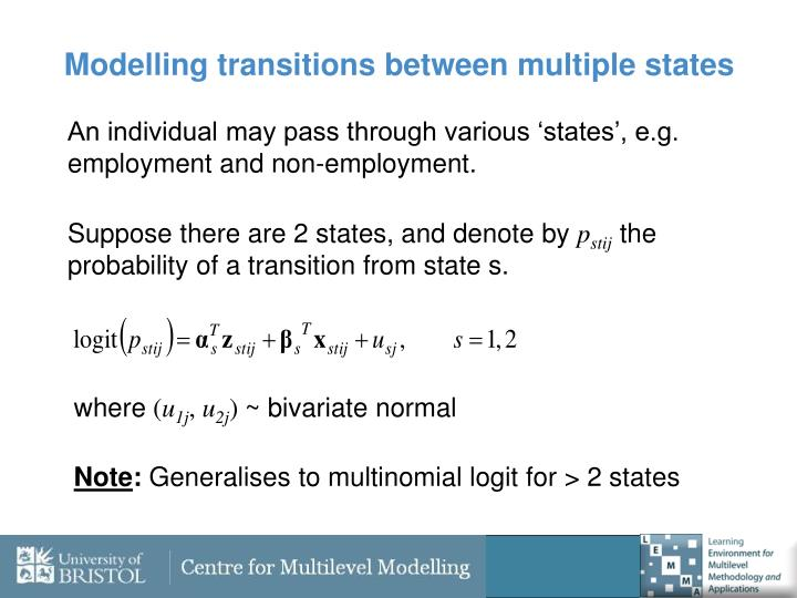 Modelling transitions between multiple states