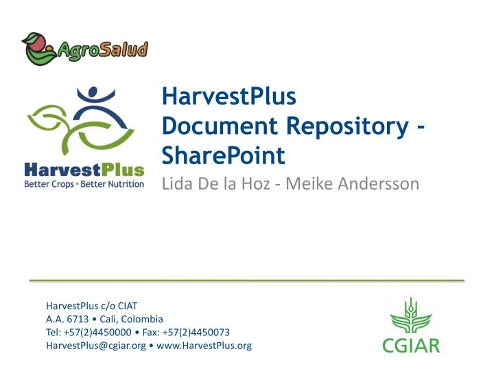 Harvestplus document repository sharepoint