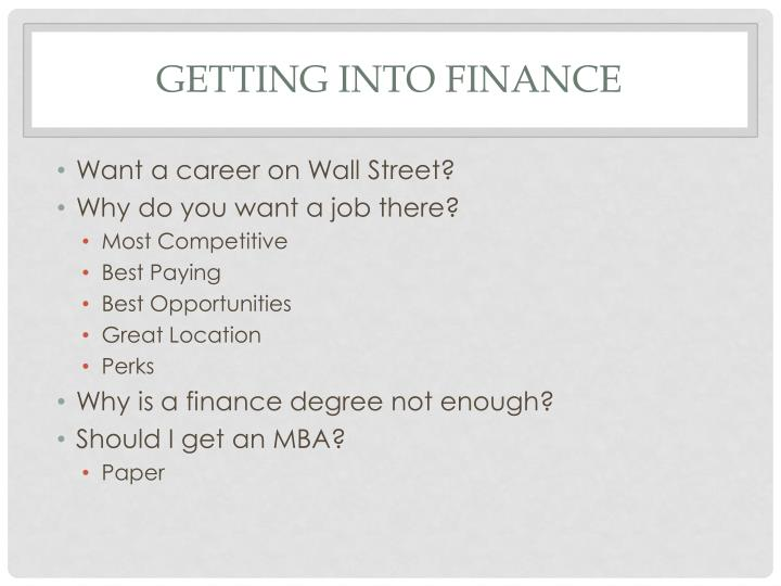 Getting into finance