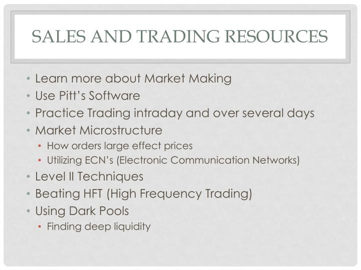 Sales and Trading Resources