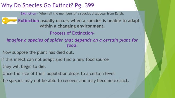 Why Do Species Go Extinct? Pg. 399