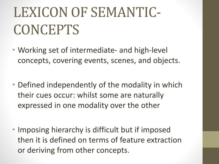 LEXICON OF SEMANTIC-CONCEPTS