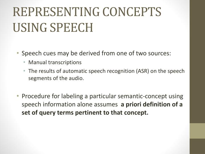 REPRESENTING CONCEPTS USING SPEECH