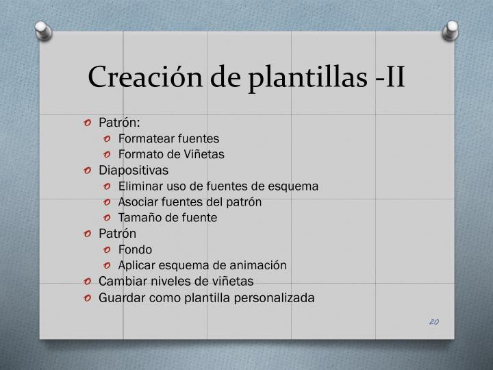 Creación de plantillas -II
