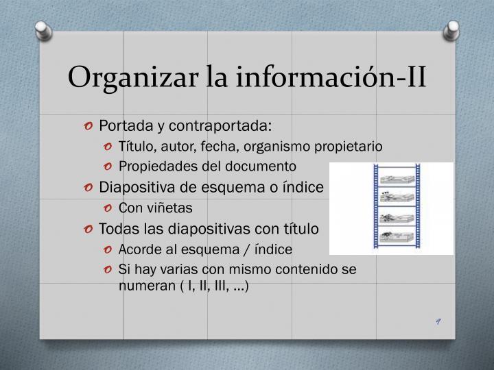 Organizar la información-II