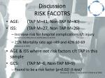 discussion risk facotrs