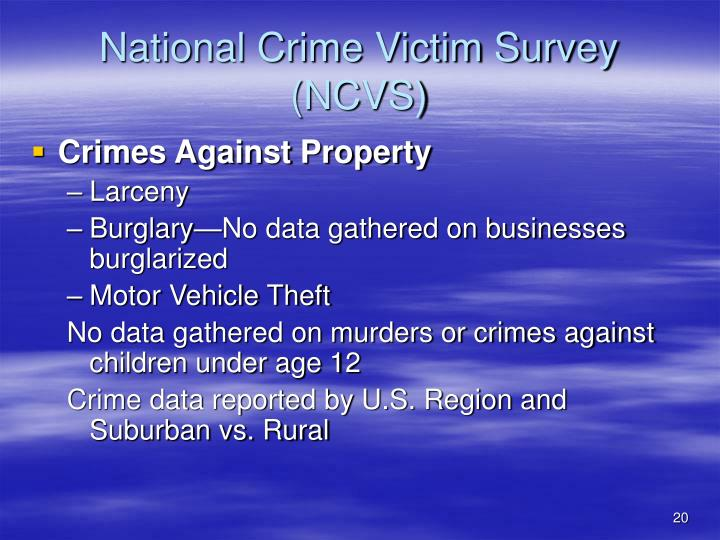 national crime survey He national crime victimization survey (ncvs) is a major source of crime statis- tics and of data for the analysis of victimization risk, consequences of victimization, and responses to crime.