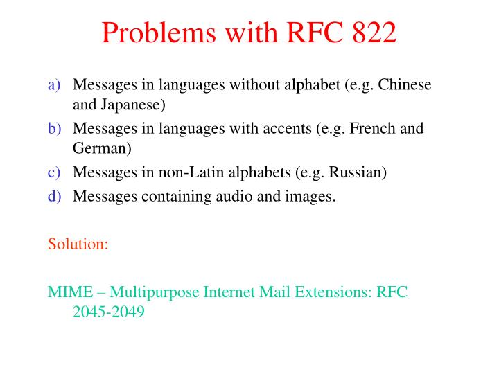 Problems with RFC 822
