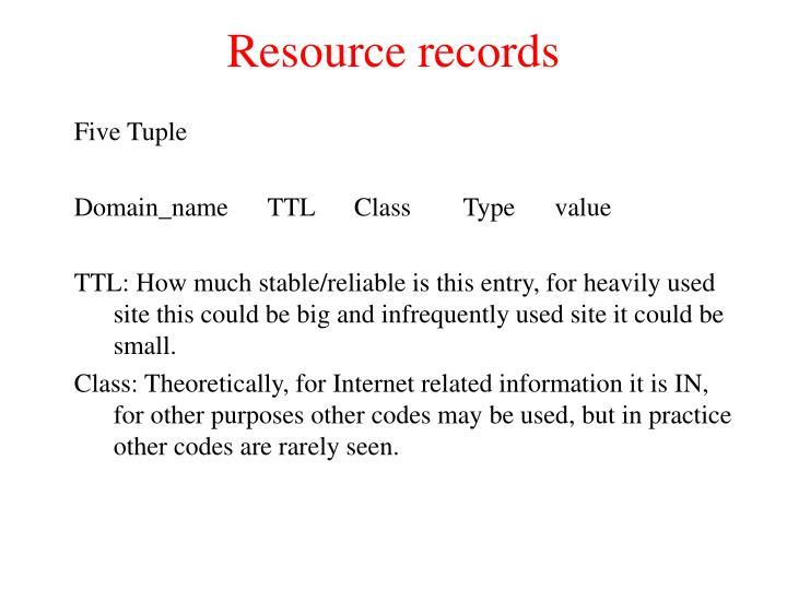 Resource records