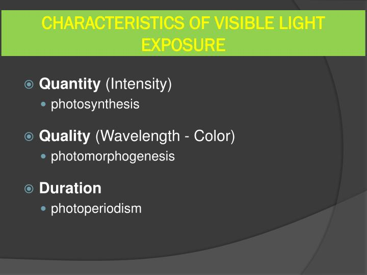 CHARACTERISTICS OF VISIBLE LIGHT EXPOSURE