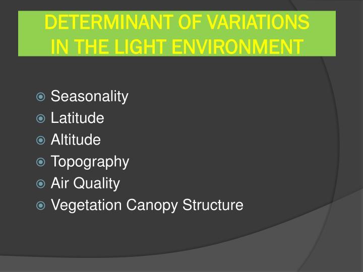 DETERMINANT OF VARIATIONS