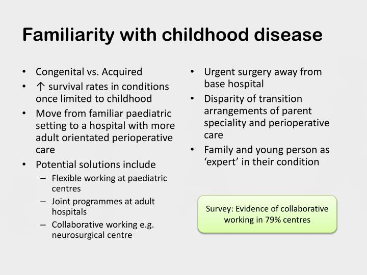 Familiarity with childhood disease