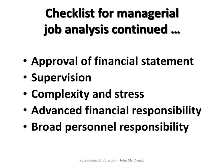 Checklist for managerial