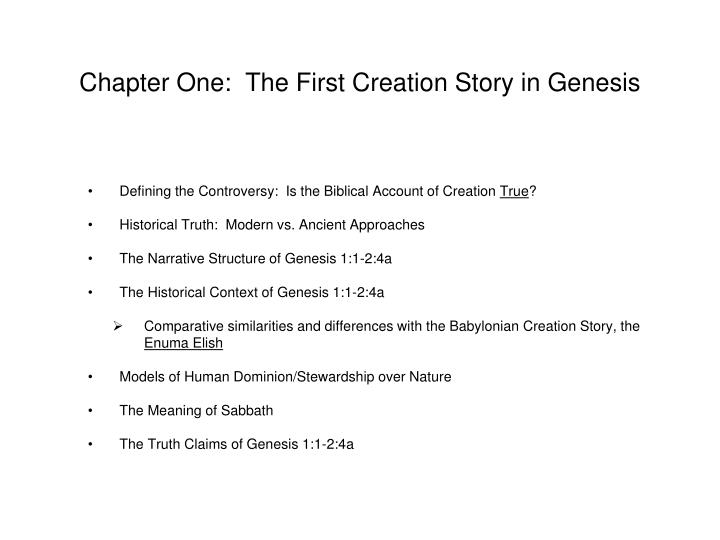Chapter One:  The First Creation Story in Genesis