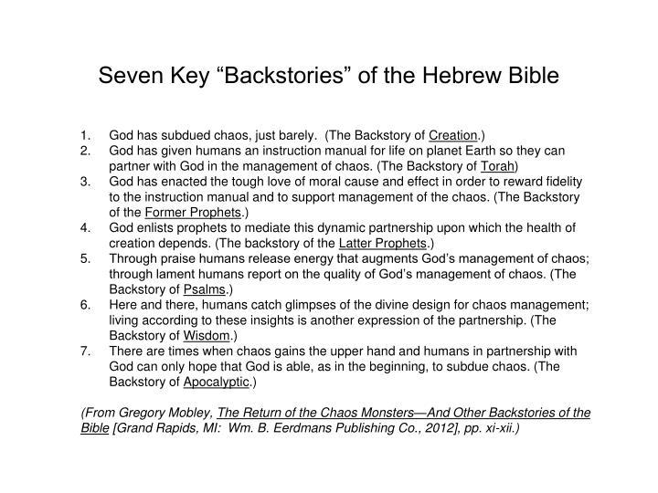 "Seven Key ""Backstories"" of the Hebrew Bible"