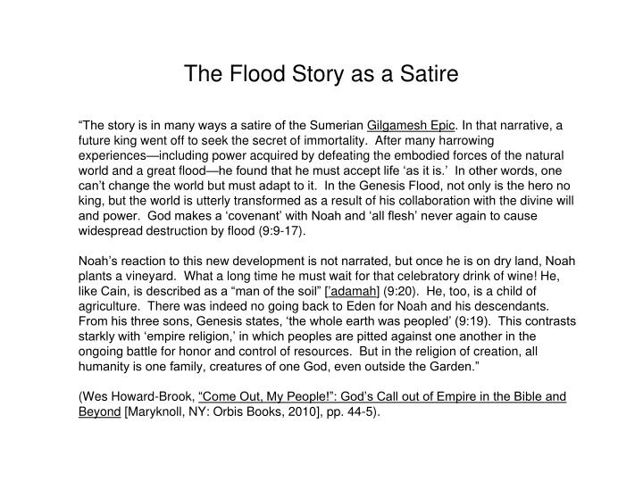 The Flood Story as a Satire