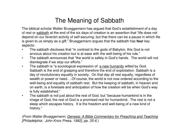 The Meaning of Sabbath