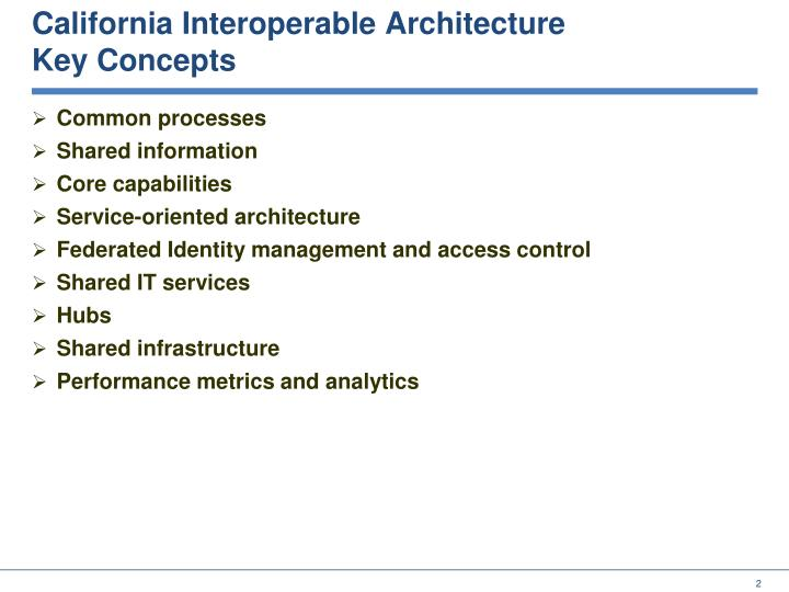 California interoperable architecture key concepts