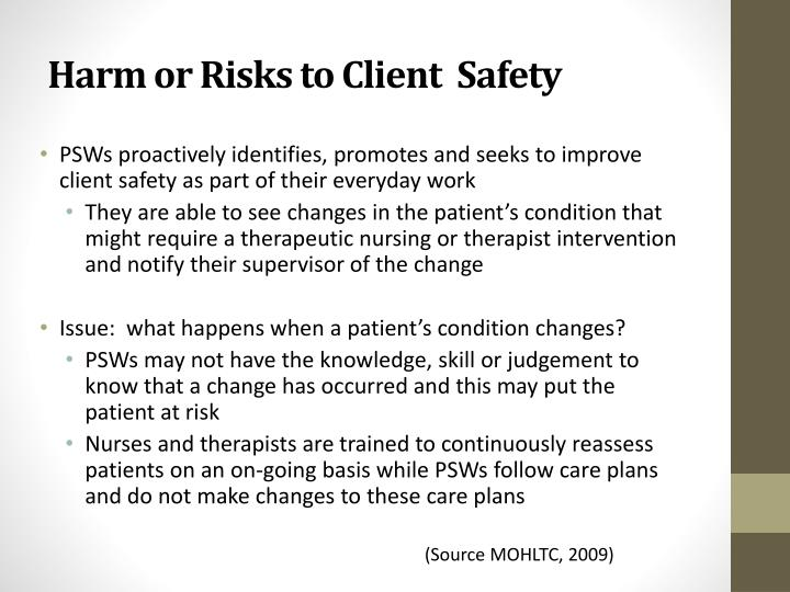 Harm or Risks to Client  Safety