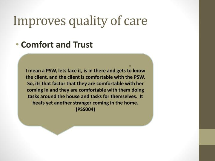Improves quality of care