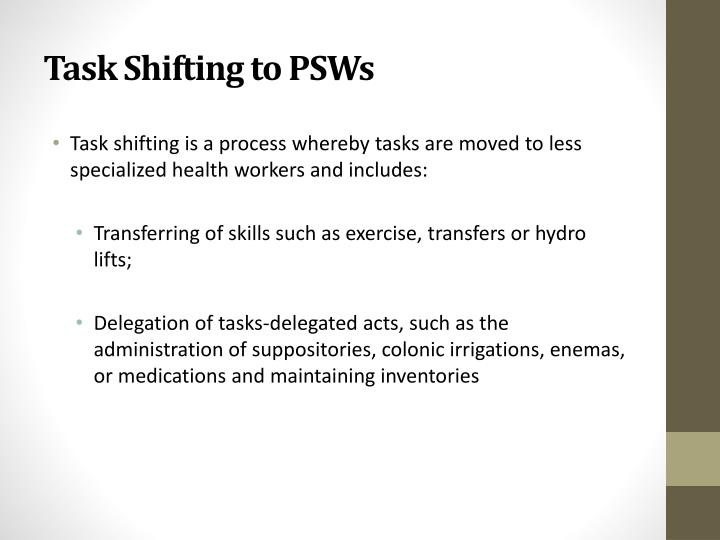 Task Shifting to PSWs