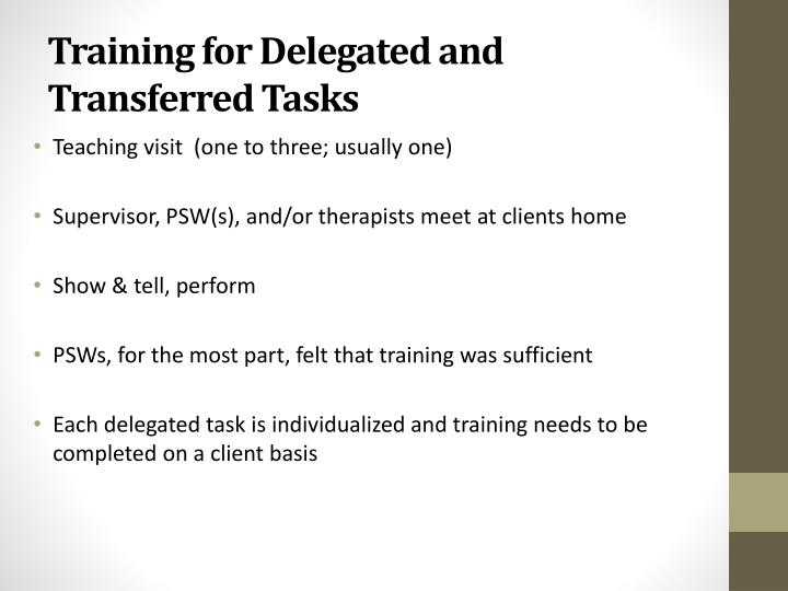 Training for Delegated and Transferred Tasks