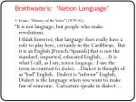 brathwaite s nation language
