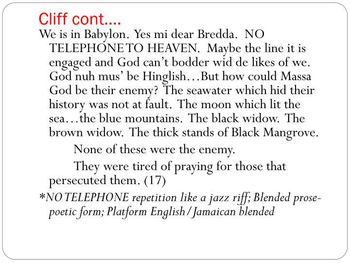Cliff cont….