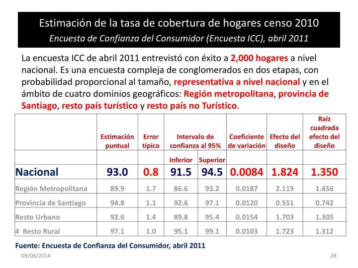 Estimación de la tasa de cobertura de hogares censo 2010